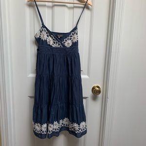 Katies Denim White Embroidered Spaghetti Dress